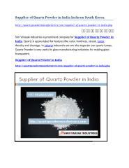 Supplier of Quartz Powder in India Incheon South Korea.docx