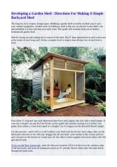 Developing a Garden Shed - Directions For Making A Simple Backyard Shed.pdf